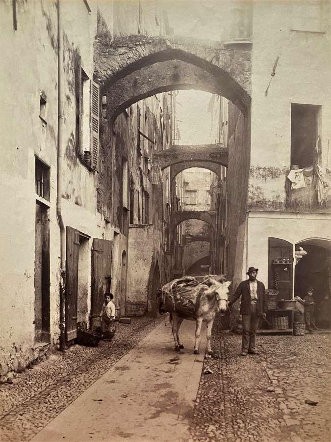 San Remo Street Scene Italy By J. Gilletta C1880