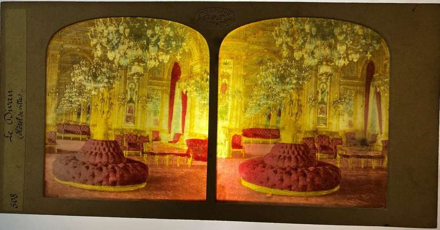 Tissue Hold to Light Stereoview card Hotle De Ville Paris France G.A.F