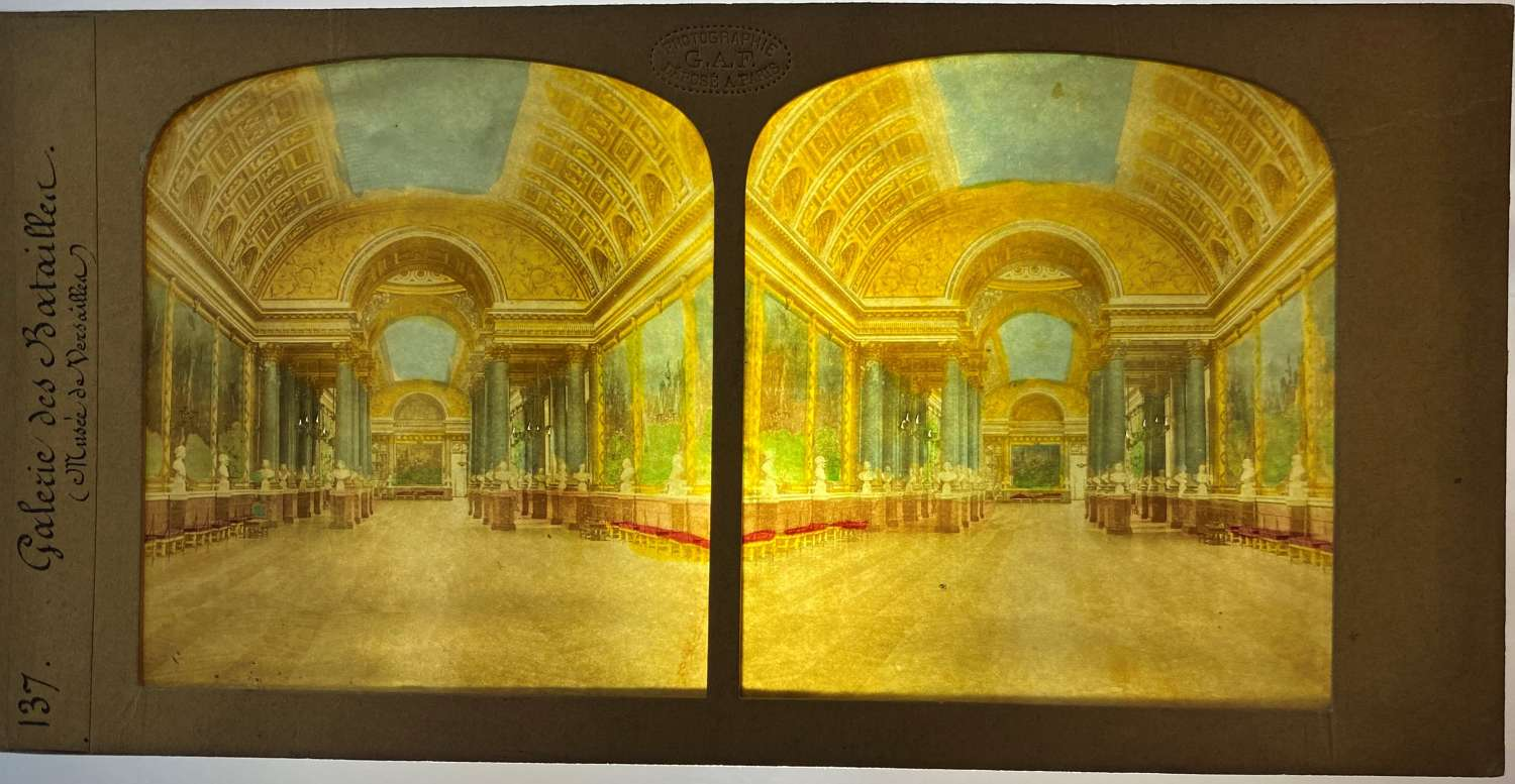 Tissue Hold to Light Stereoview The Palace of VersaillesFrance