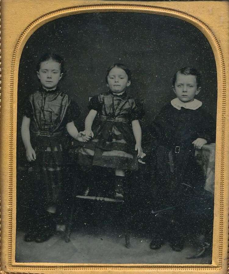1/6 Plate Ambrotype of Three Little Children in original frame C1860
