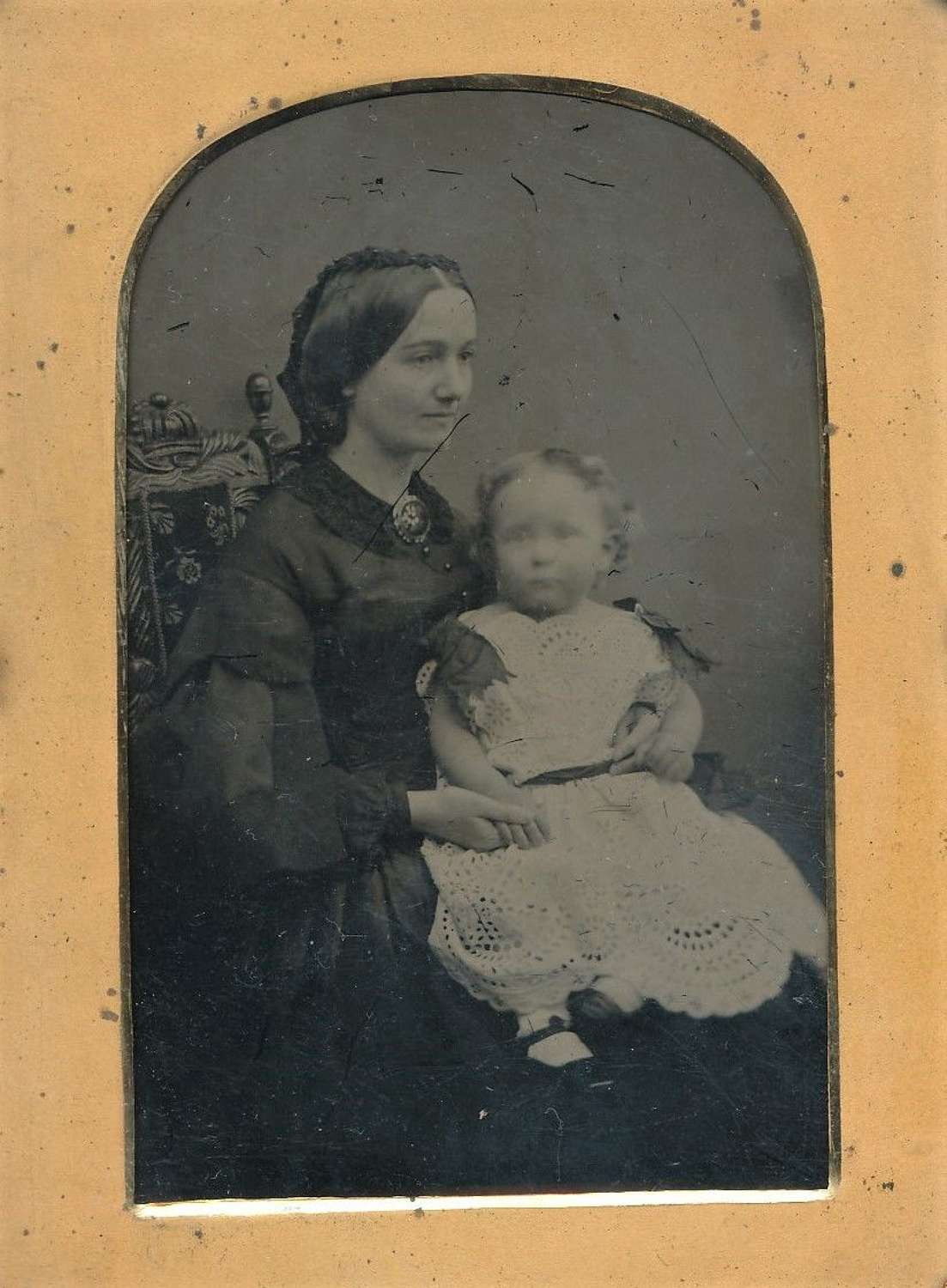 1/4 Plate Ambrotype Mother and Baby C1860