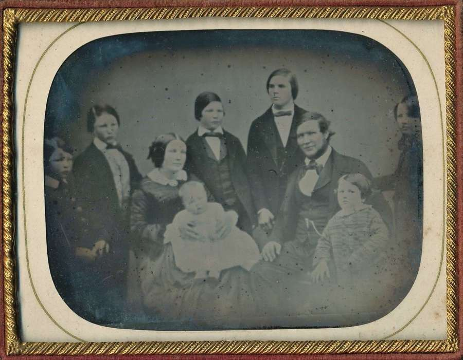 Superb  1/4 Plate Ambrotype Lovely Family Group 9 People C1855