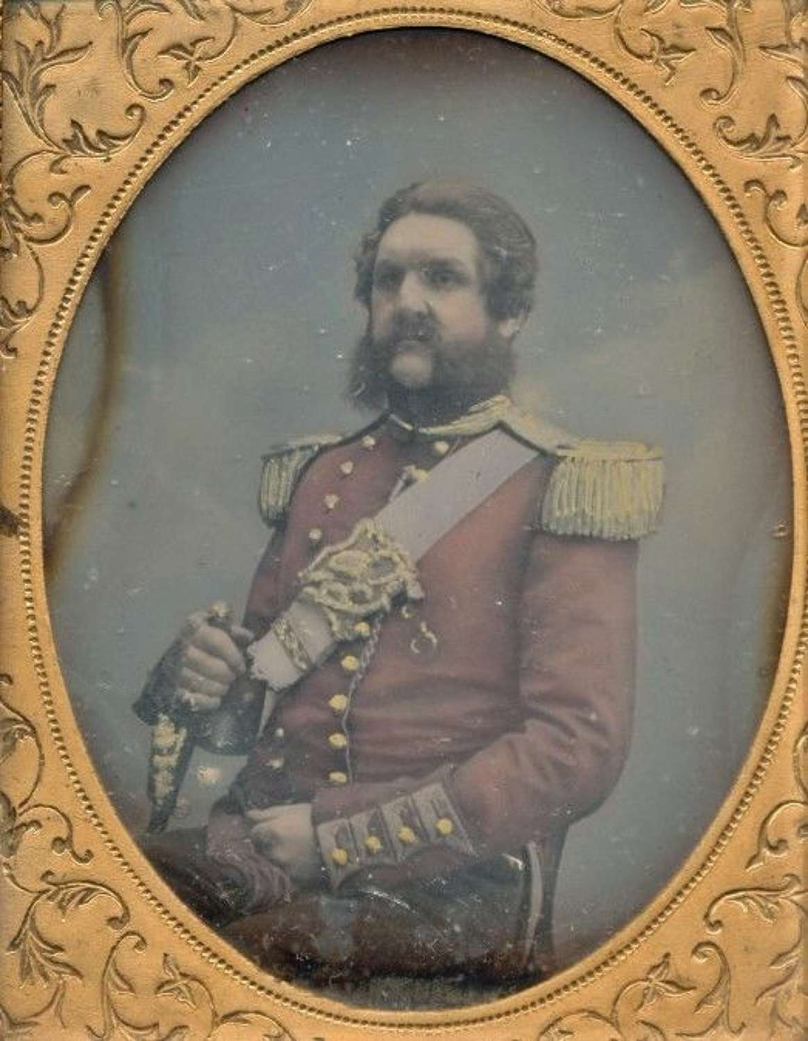 Hand Tinted 1/9 Plate Daguerreotype of a High-Ranking British Military