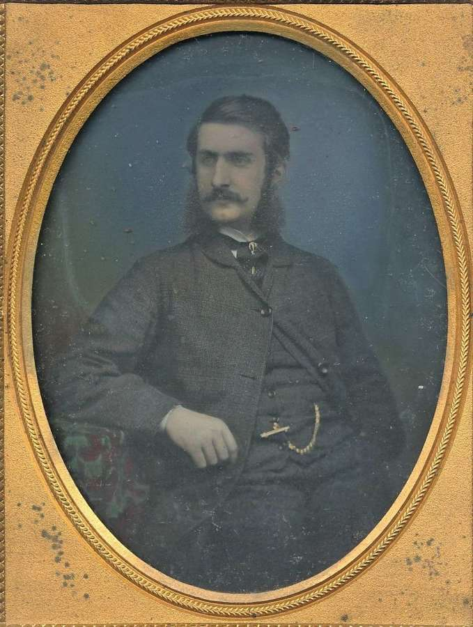 Superb Early Hand Tinted 1/4 Plate Ambrotype of A Gentleman