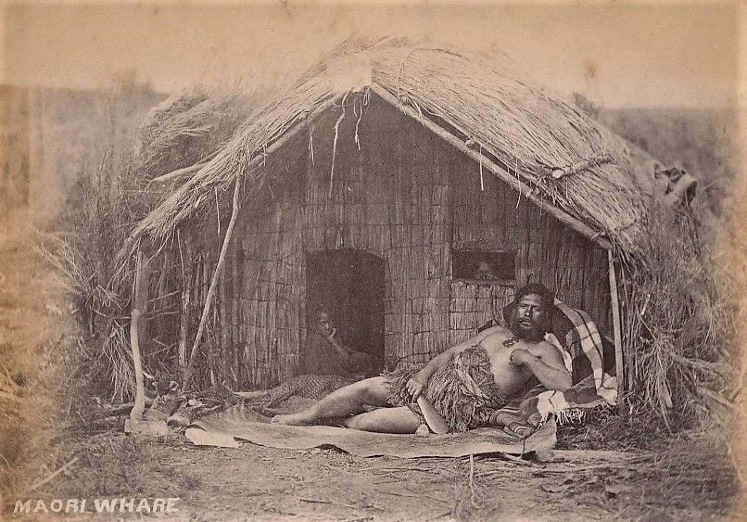 Maori with Patu New Zealand C1885