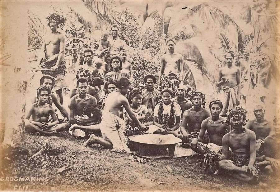 Original Photo of Native Fijians Kava Making Fiji  C1885