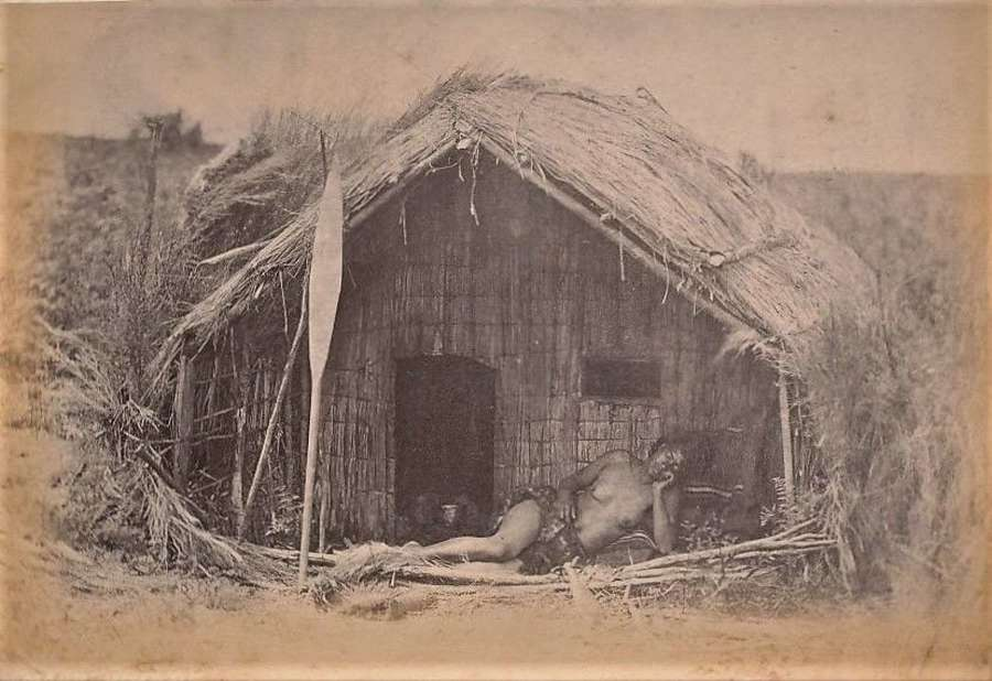 Maori House, Maori with Paddle New Zealand C1885