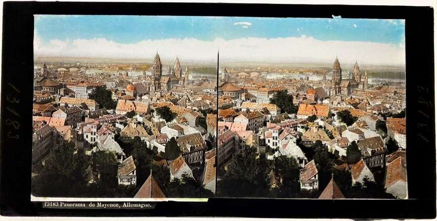 Coloured Glass Stereoview Panorama de Mayence Allemagne Mainz Germany