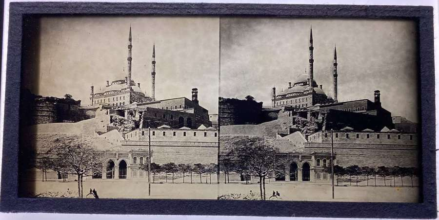 Glass Stereoview Mosque of Muhammad Ali Cairo Egypt C1870