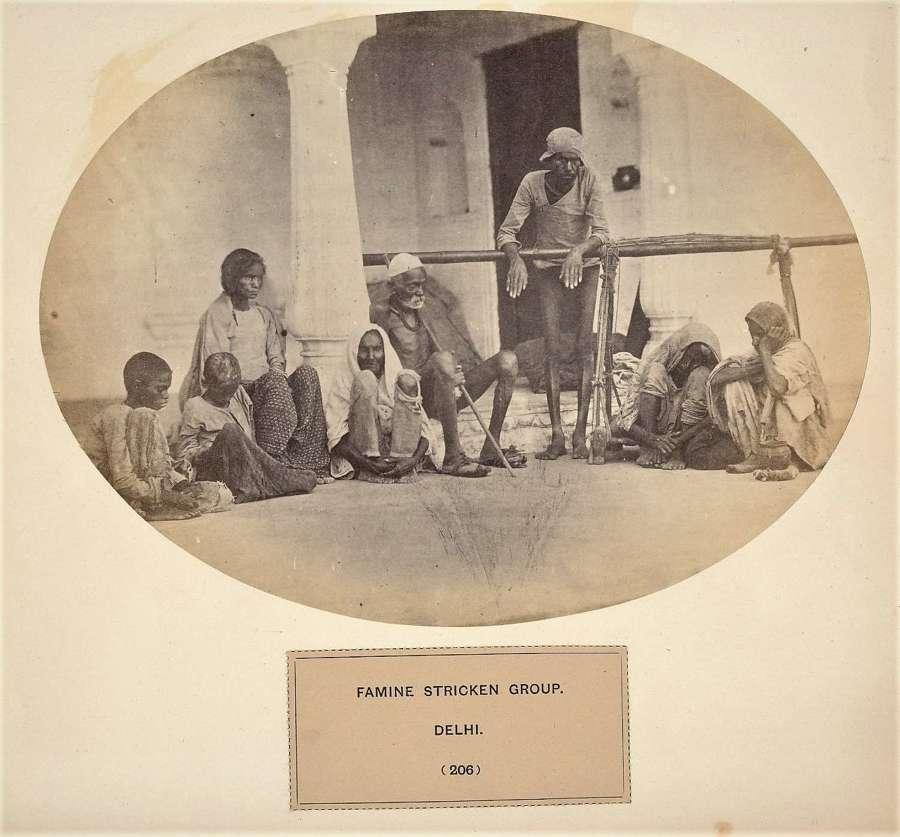 People of India Famine Stricken Group Delhi India C1865