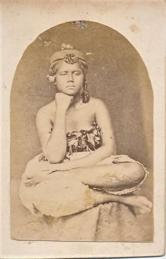 Rare CDV photo of  Native Girl. Samoa. South Pacific C1875