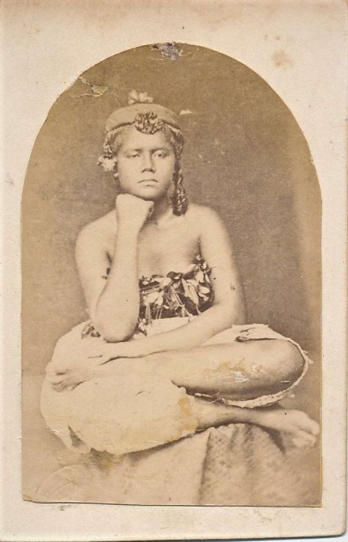 Rare CDV photo of Native Girl.Samoa. South Pacific C1875