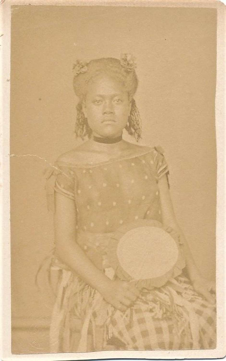 Rare CDV photo of  Native Girl with Fan. Samoa. South Pacific C1875
