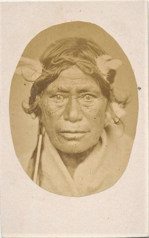 CDV Size Photo Maori Chief with Ear Ornament New Zealand C1875