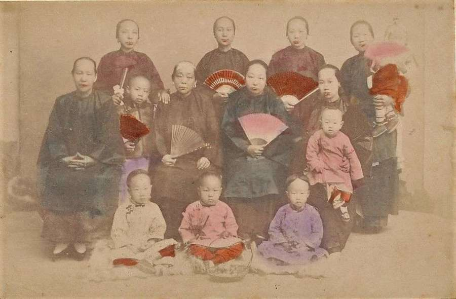 Hand Tinted Photo of Chinese Women with Fans & Children China C1875