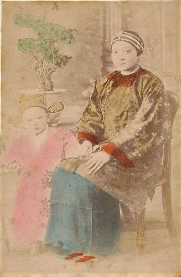 Hand Tinted Photo ofMother & Child China C1875