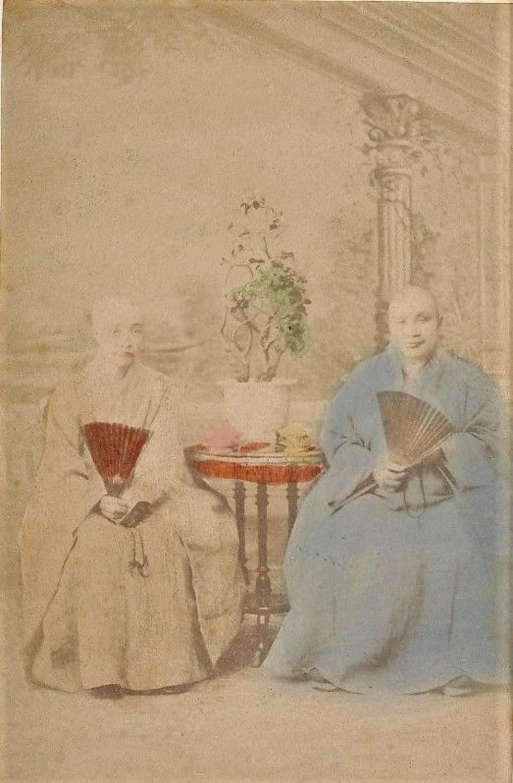 Original Hand Tinted PhotoBuddhist Monk Women China C1875