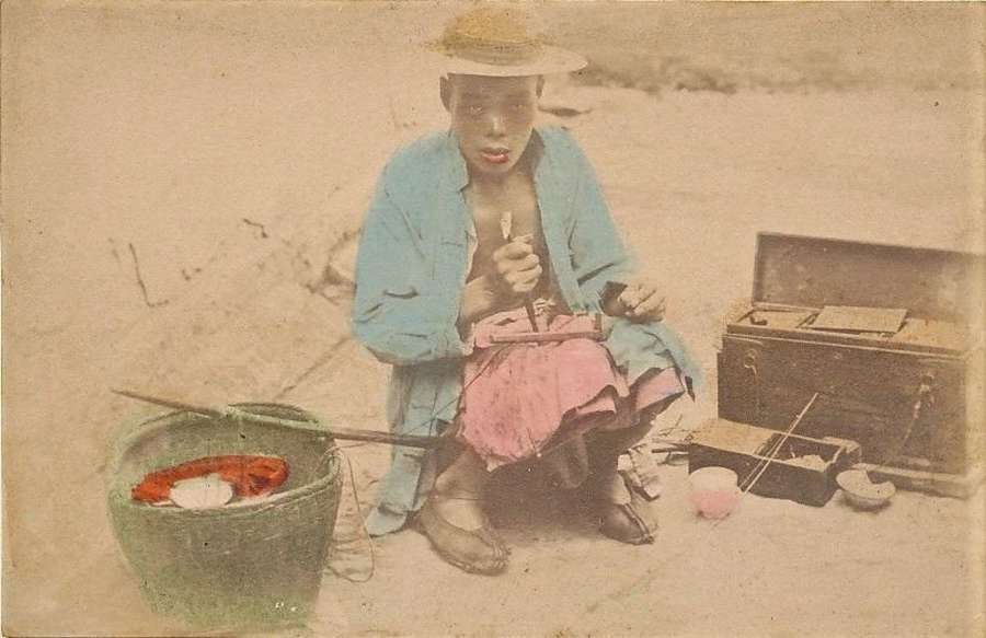 Original Hand Tinted PhotoRepair Porcelain China C1875