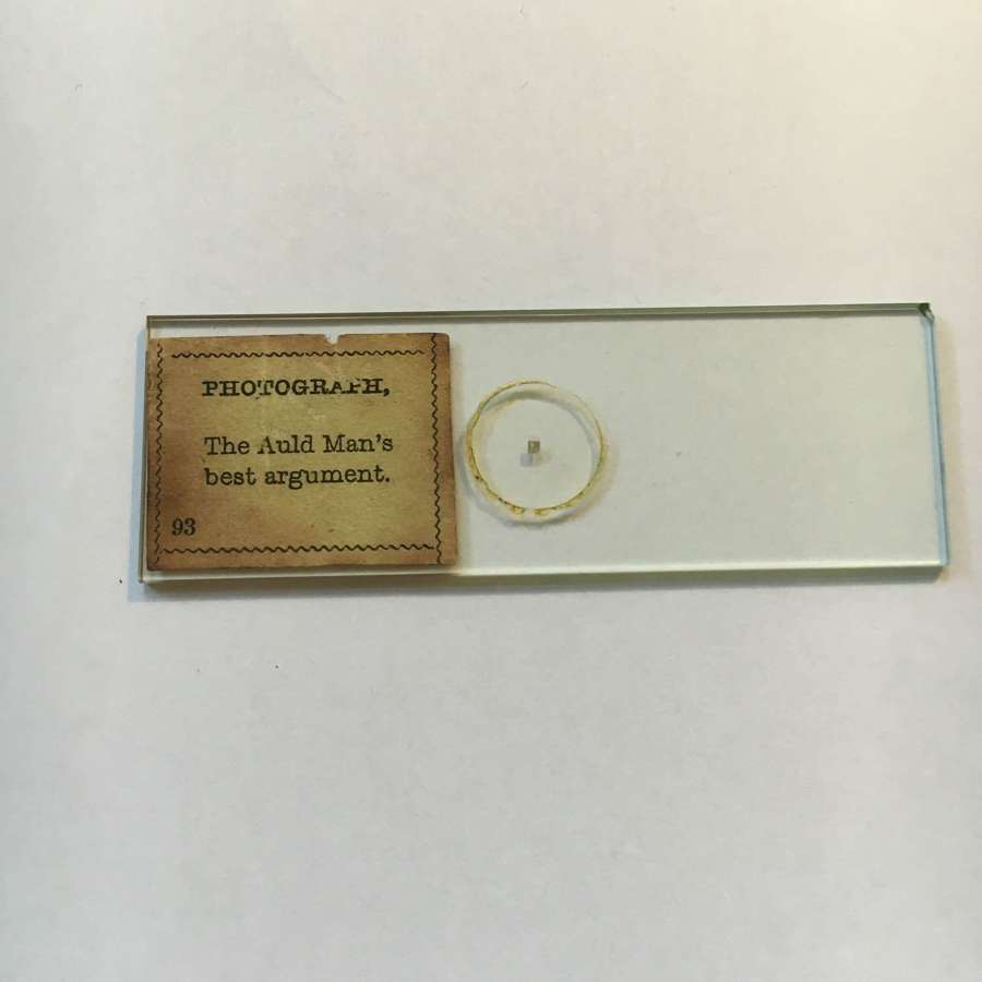 Microphotograph Microdot Slide The Auld Man's Best Argument C1860