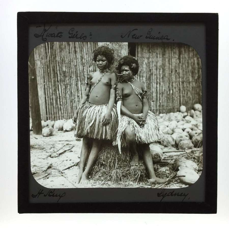 Lantern Slide Two Kwato Native Girls  New Guinea, By H. King. Sydney