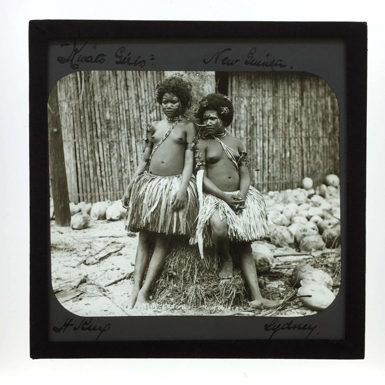 Lantern Slide Two Kwato Native Girls New Guinea, By H. King. Sydney