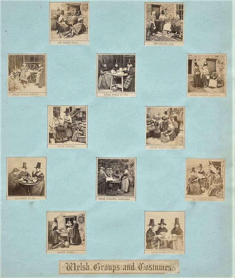 12 miniature Photos on one mount, Welsh Ladies Groups and Costumes