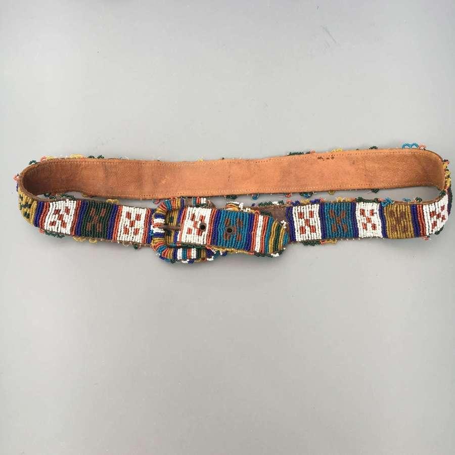 Native American Indian Bead Work Belt