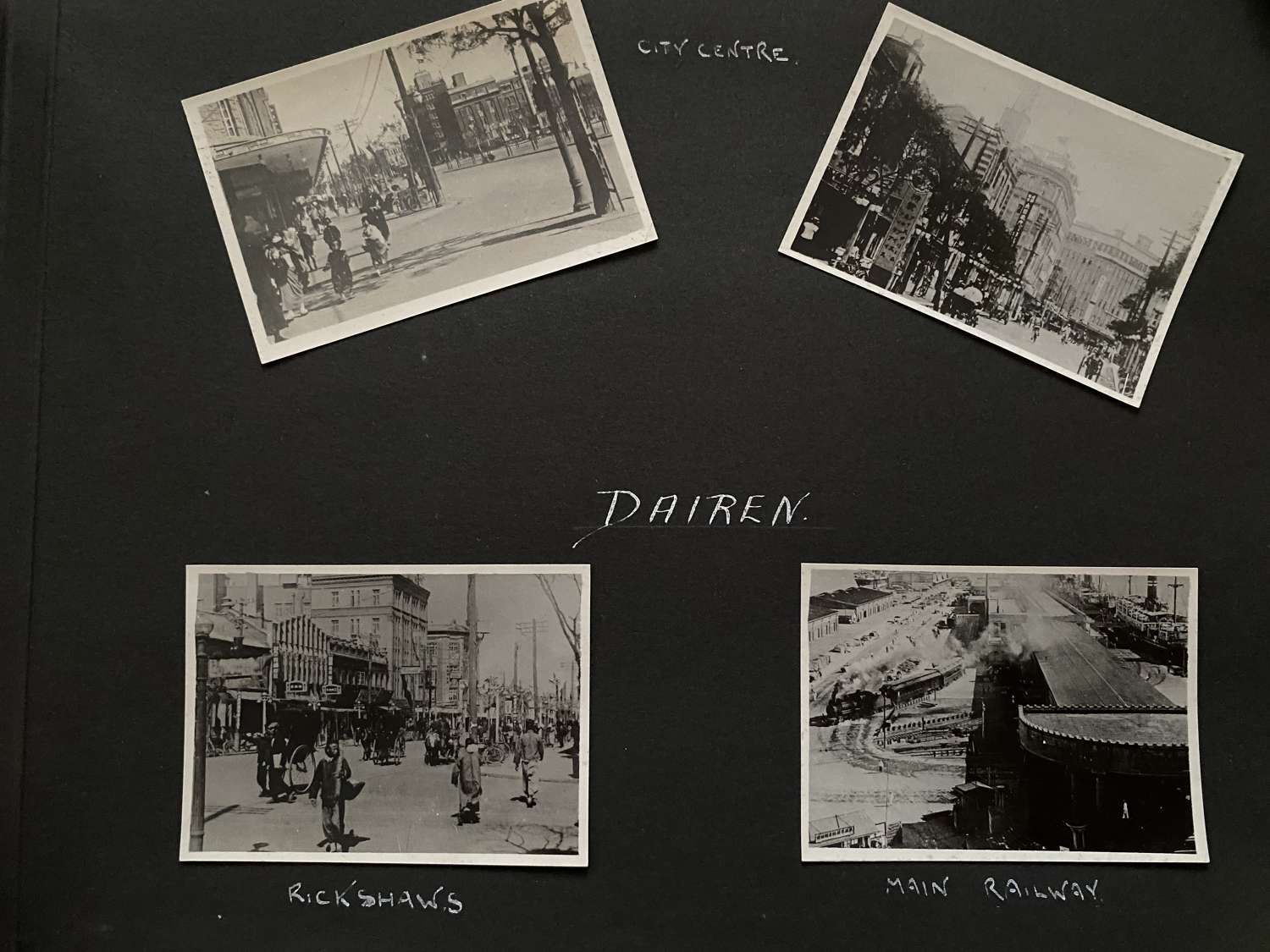 4 Photos View of Dalian Street Scenes & Railway. China C1935