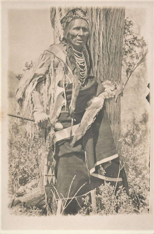 Native American Indian head club and Knife Sheath C1920 - 1930