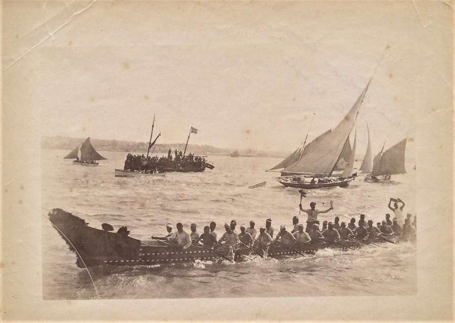 A Maori Canoe Race, New Zealand C1890