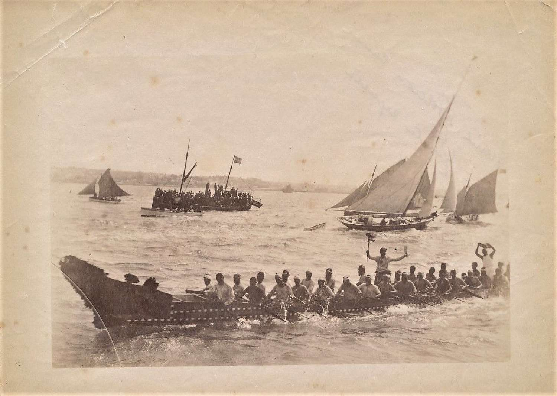 A Maori Canoe Race, New Zealand C1890