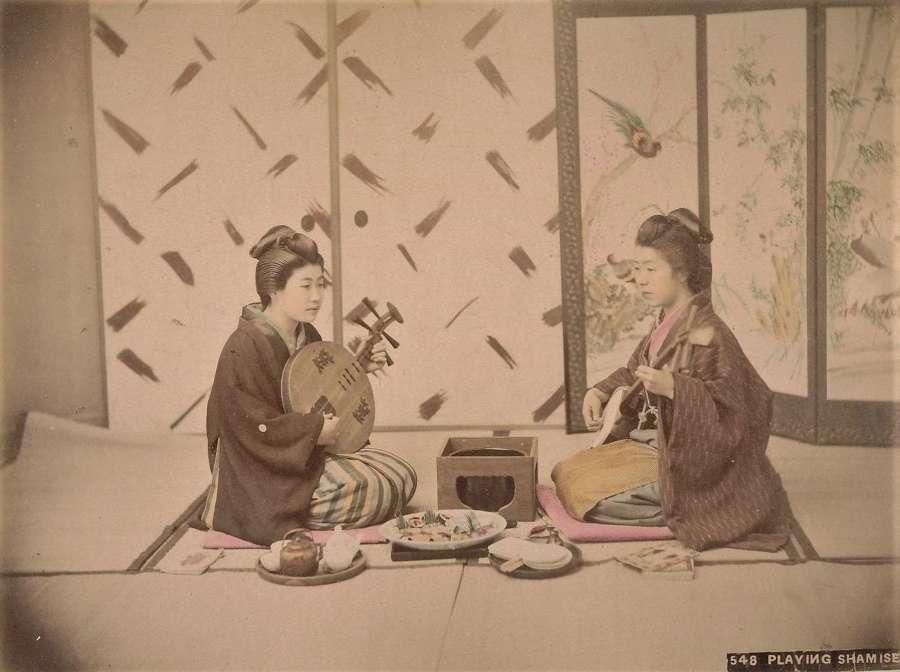 Hand Coloured Photo Japanese Girls Playing Shamisen C1880