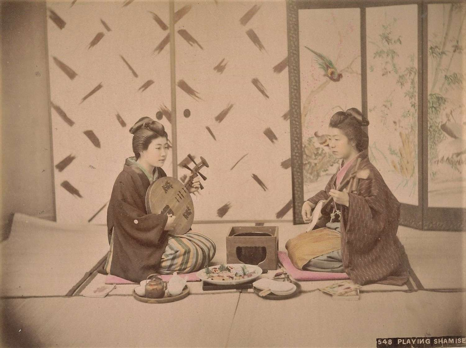 Hand Coloured Photo Japanese Girls Playing Shamisen C1880