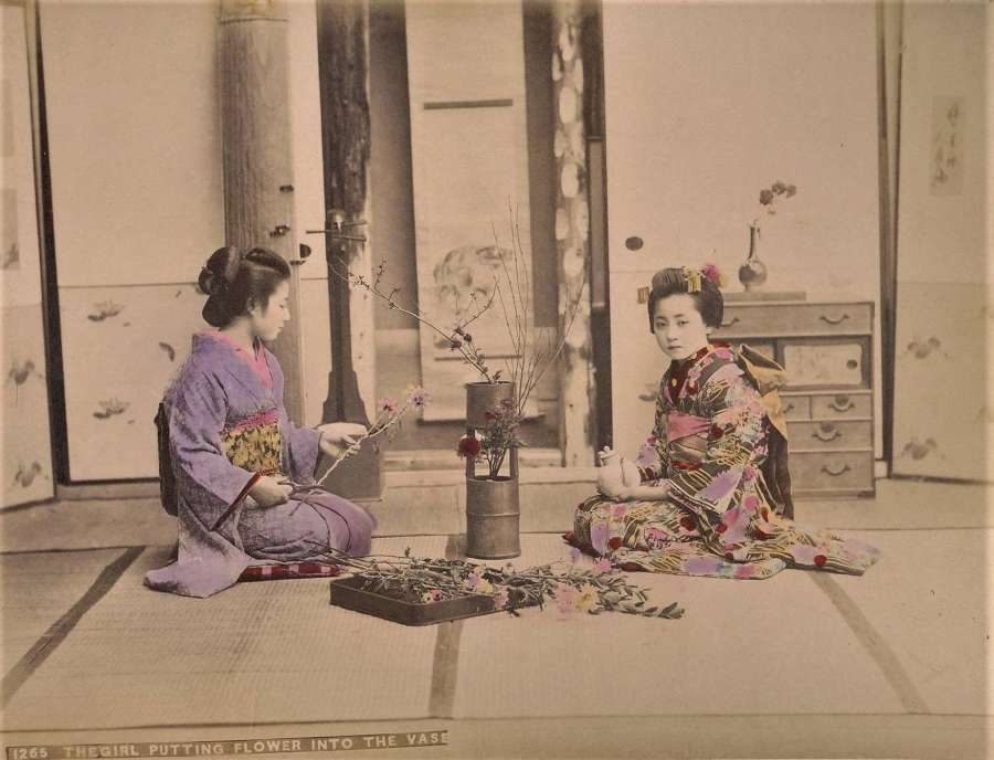 Hand Coloured Photo The Girl Putting Flower into the Vase Japan
