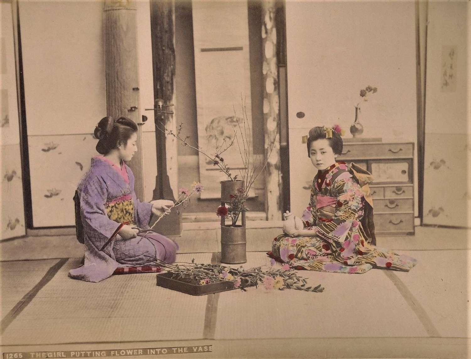 Hand Coloured Photo The Girl Putting Flower into the VaseJapan