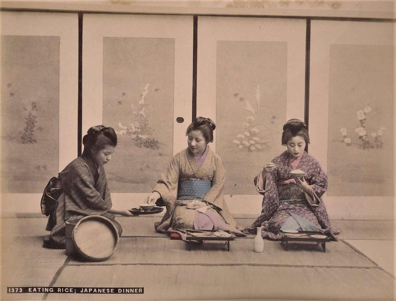 Hand Coloured Photo Eating Rice Japanese Dinner Japan