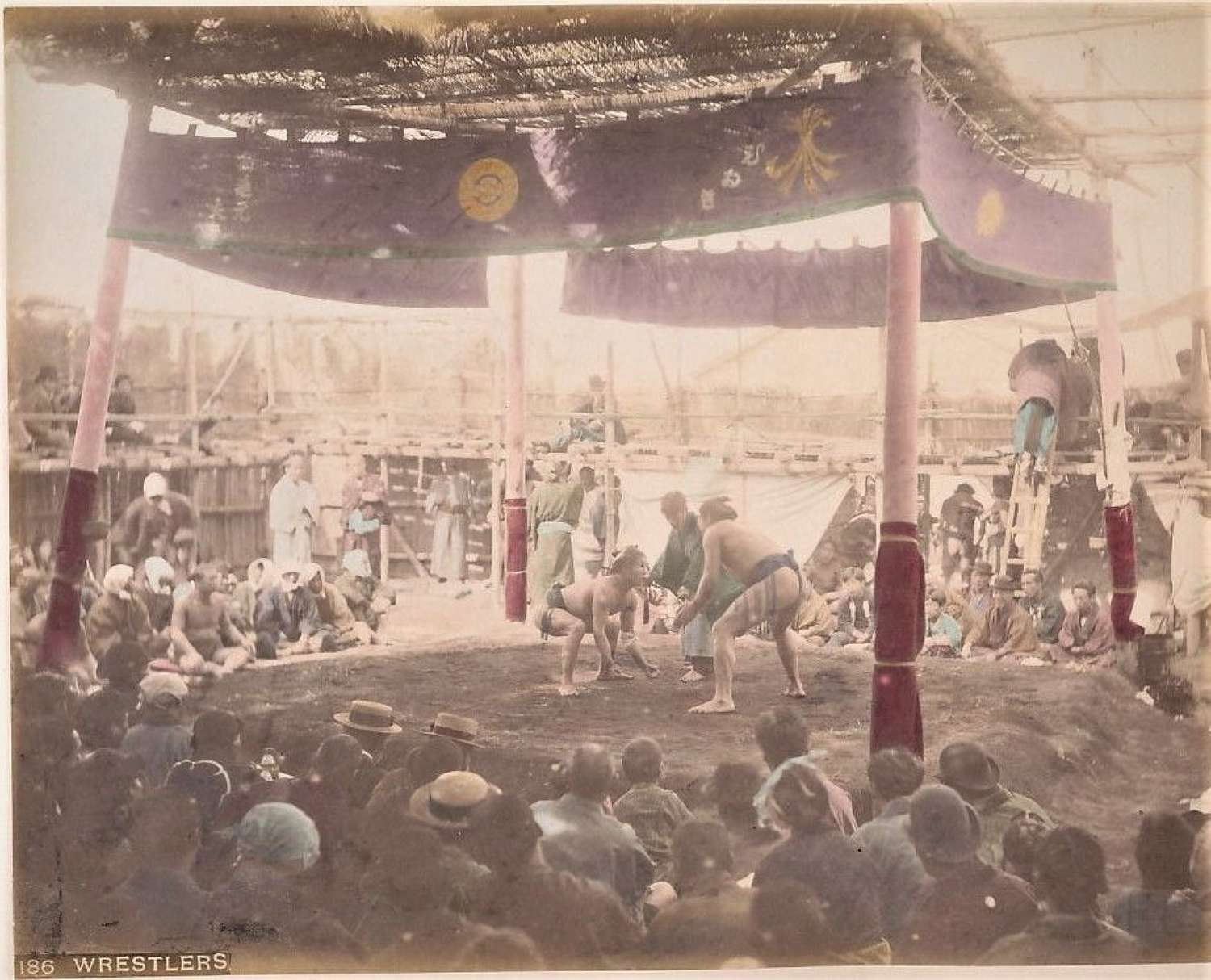 Coloured Photo Japanese Wrestlers  Japan C1880