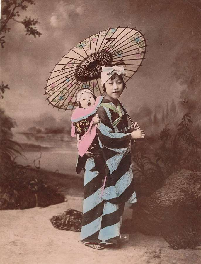 Hand Colour Photo Japanese Mother & Baby Japan C1880