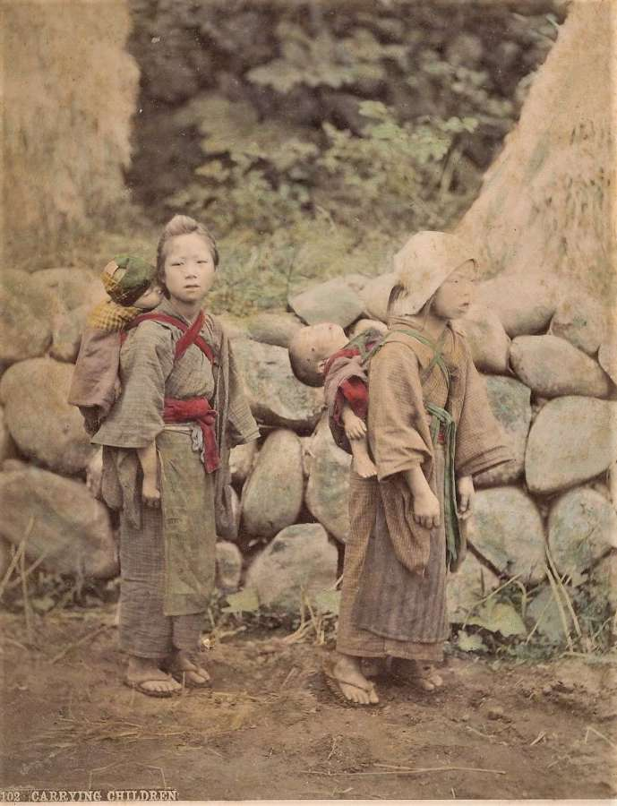 Hand Coloured PhotoCarrying ChildrenJapan By Kusakabe Kimbei.