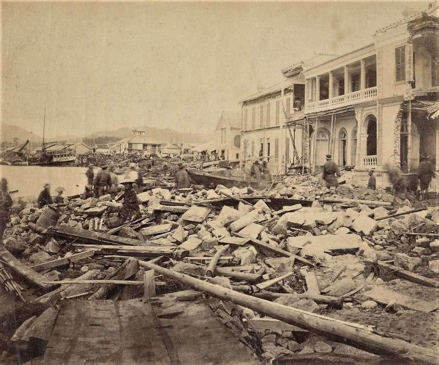 ' Kobe Typhoon' Japan 1871 Attributed toAuguste Gorde.