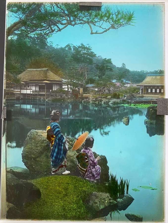 Autochrome Glass Photo Garden View and Two Japanese Girls Japan