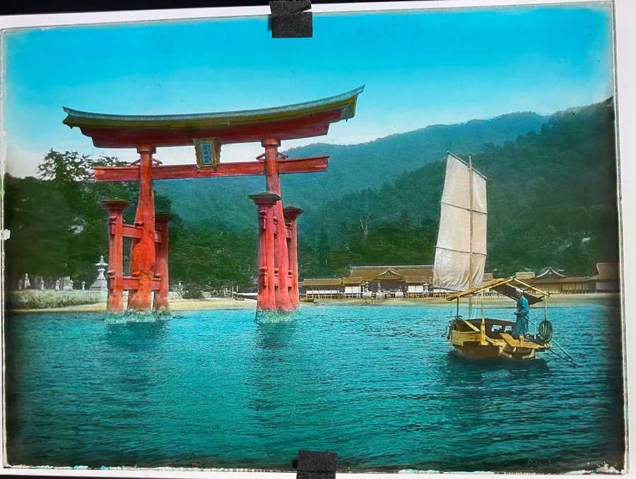 Autochrome Glass Photo Beautiful Japanese Garden ViewJapan