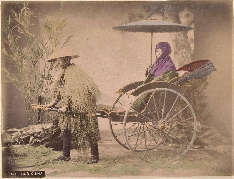 Hand Coloured PhotoJinrikisha. Rickshaw ManJapan C1880