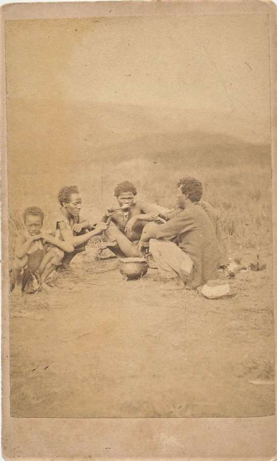 CDV photo  A Native Zulus Picnic South Africa C1870