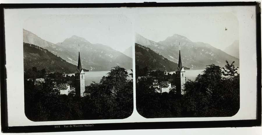 Stereo Glass  View of The Waeggis. Switzerland  C1860. No 4013