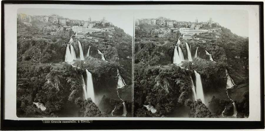 Stereo Glass view A Grand Waterfall at Tivoli  Italy C1860 . No.333