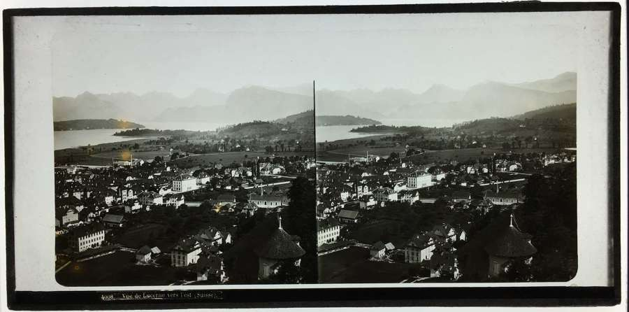 Stereo Glass View of Lucerne Switzerland .C1860.