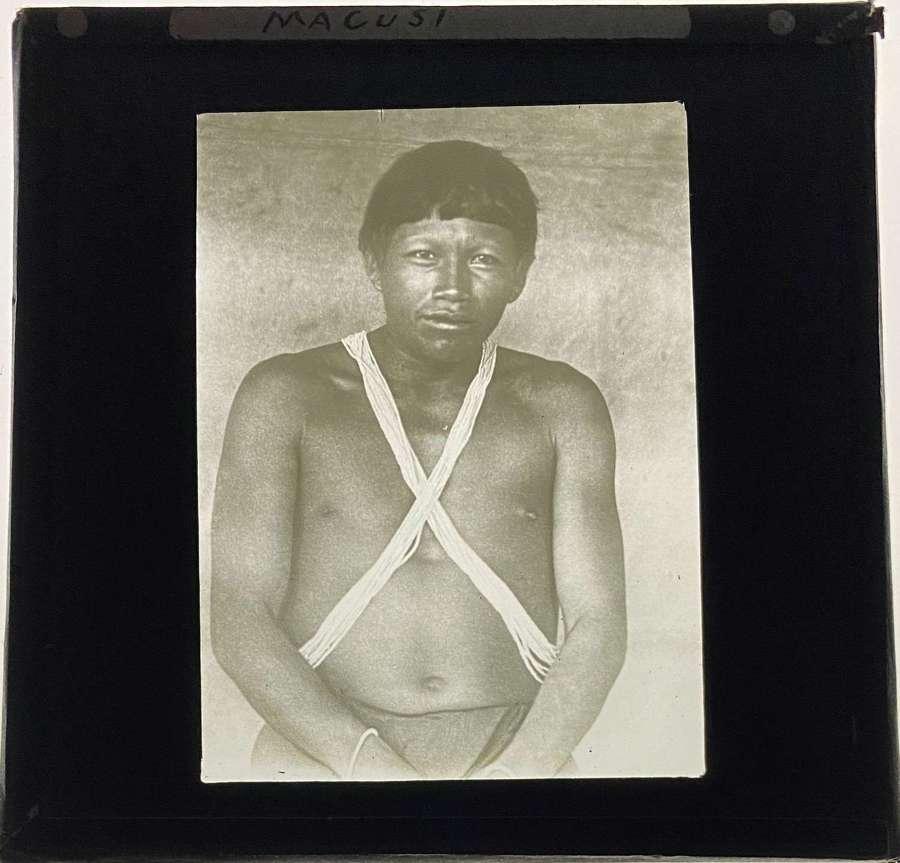 Lantern Slide Macusi Macushi Tribe Indigenous People Brazil. Guyan