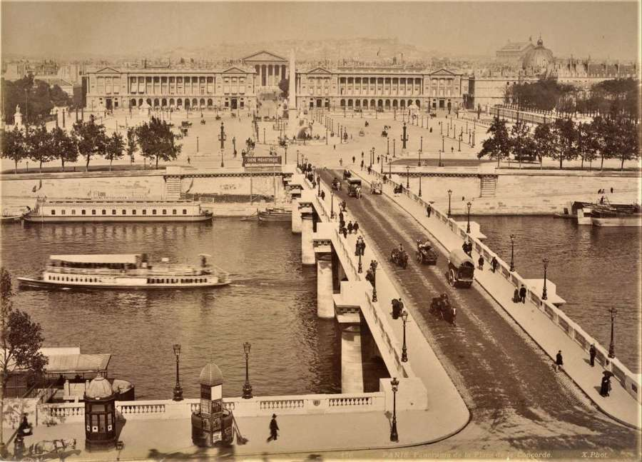 Panorama de la Place de la Concorde Paris France By X. Phot C1880
