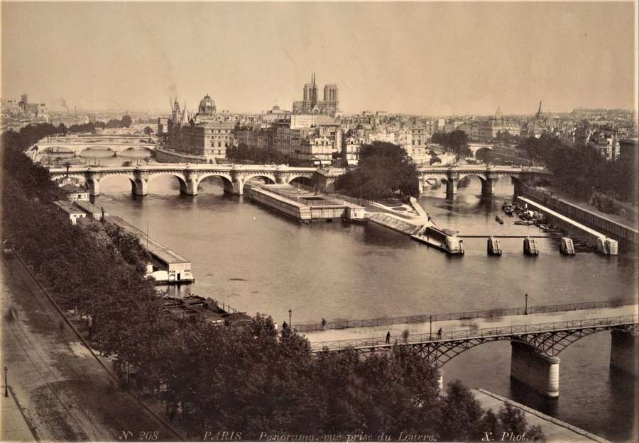 Panorama  vue Prise du Louvre Paris France By X. Phot C1880